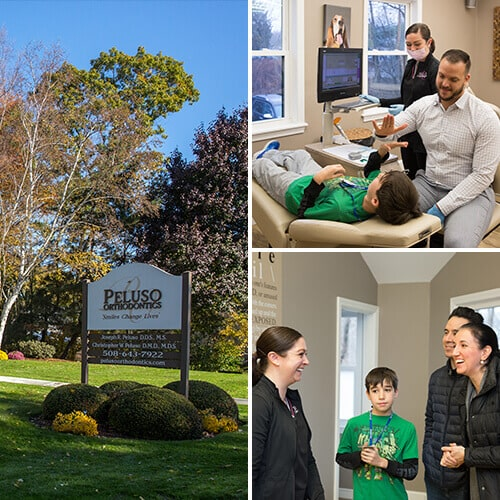 A collage of three photos about our Peluso dental office seen from the outside, and our patient children